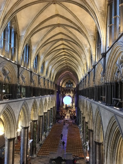The nave of Salisbury Cathedral seen from above.