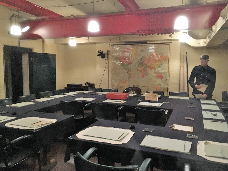Inside the underground war room, laid out for a meeting,
