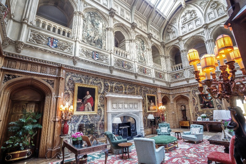 The saloon and ministrels gallery in Highclere Castle.