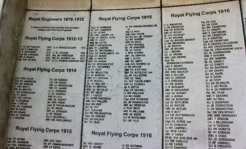 A close up of some of the names inscribed on the memorial
