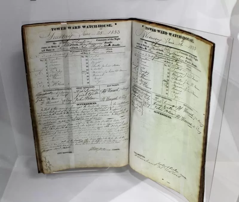A book showing the reports from Tower Division in the City of London early police force.
