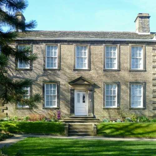 The exterior of the parsonage where the Bronte family lived.