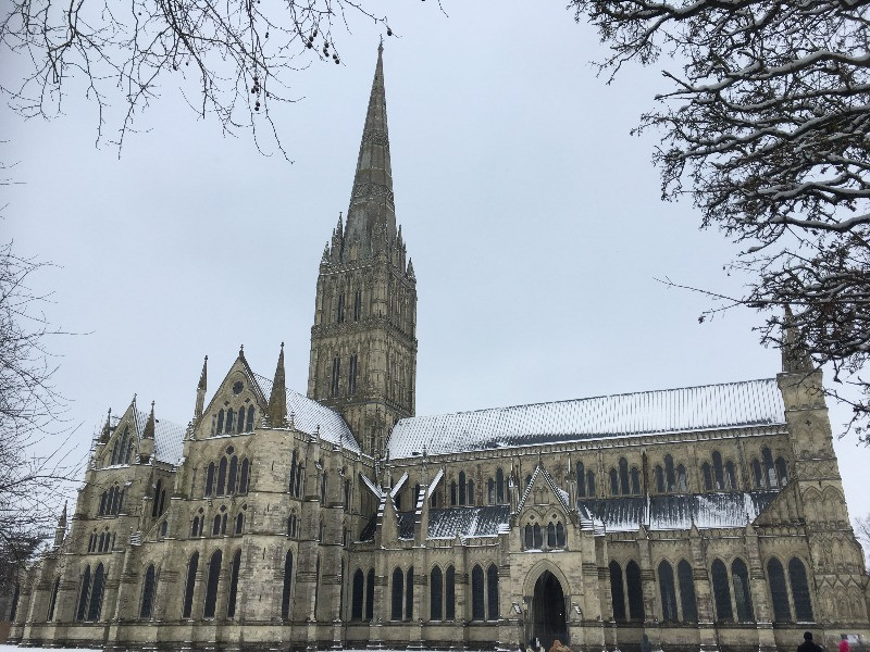 Salisbury Cathedral covered in snow