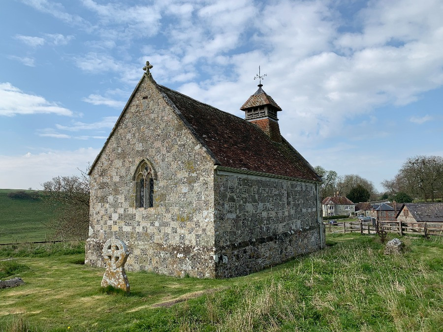 The outside of the church at Fifield Bavant