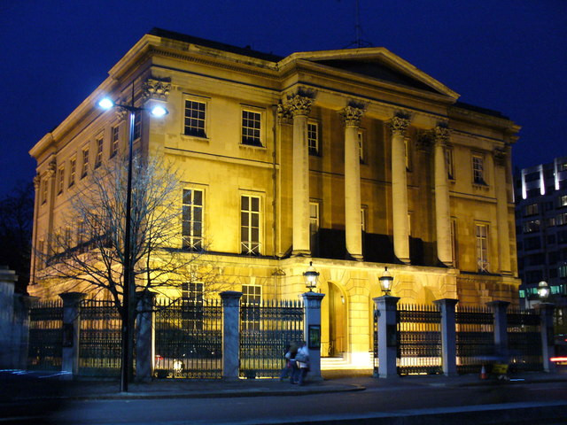 The outside of Apsley House at night.
