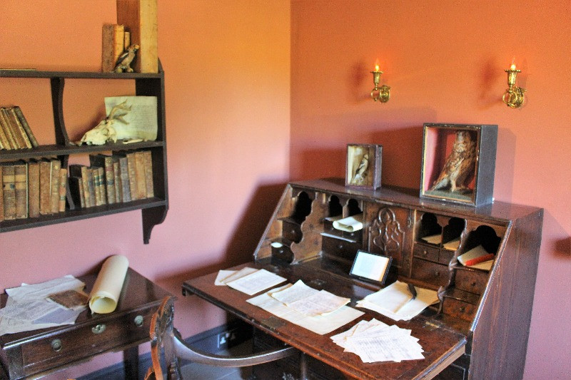 A large desk in the study at The Wakes