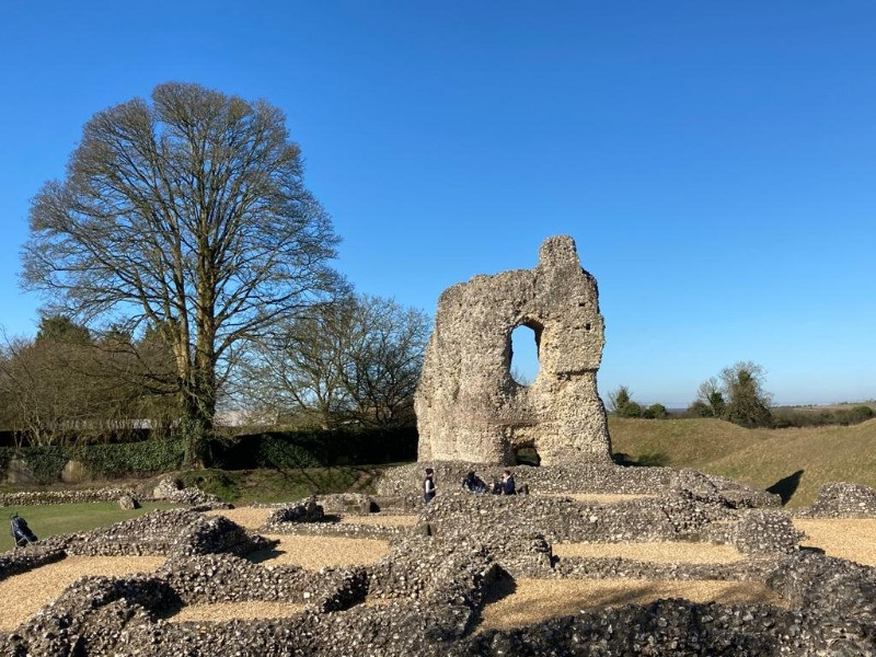 The medieval ruins of Ludgershall Castle in the sunshine
