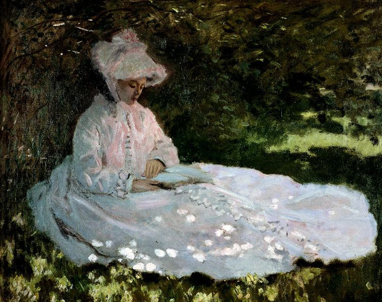 A Monet painting of a woman sitting under a tree.