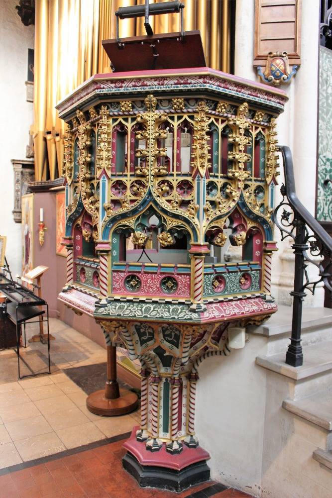The ornate pulpit in St Margarets Church