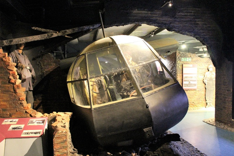 The front of a Horsa Glider in a broken wall