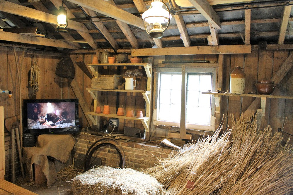 inside the shed with a TV, lamps and hay