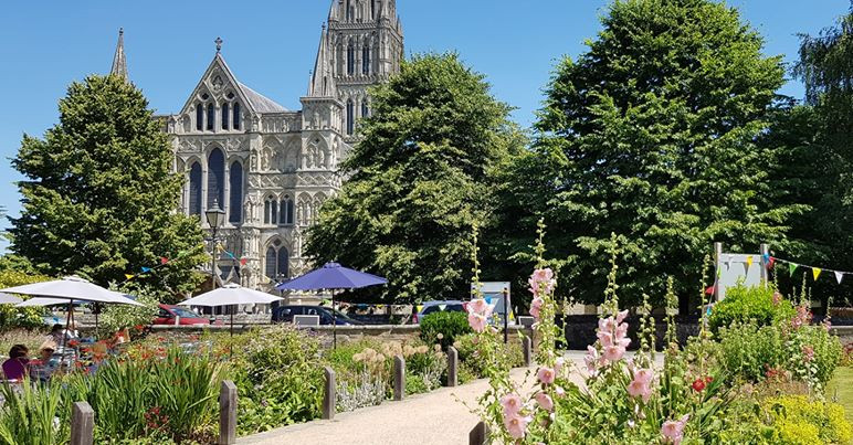 A view from Salisbury museum cafe of the cathedral.