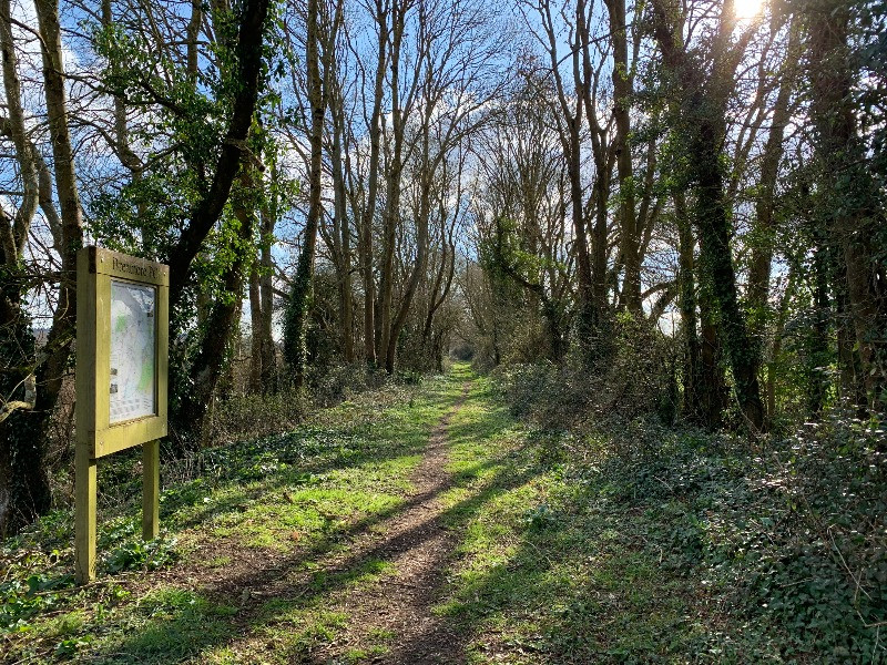 A sign at the start of a path to a woodland walk