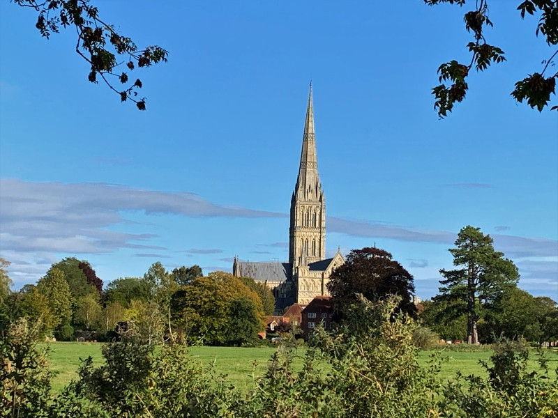 A view of Salisbury Cathedral over the River Avon.