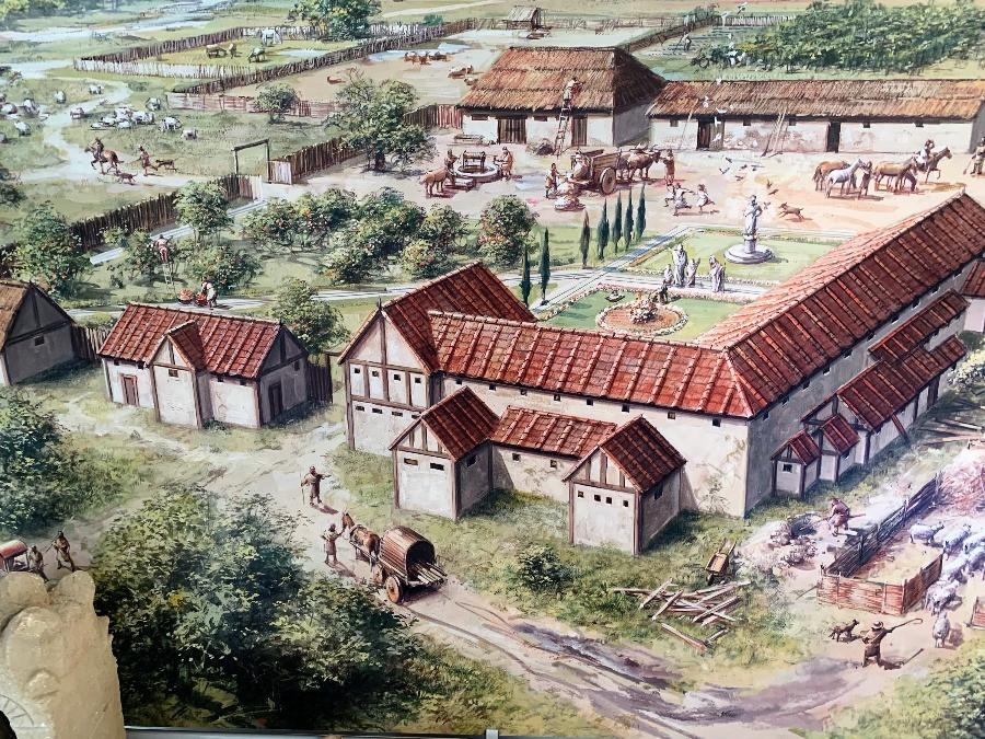 A drawing of the Rockbourne Roman villa