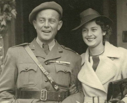 An old black ad white photo of Violette Szabo on her wedding day.