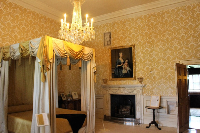 Inside the White bedroom showing a four poster bed