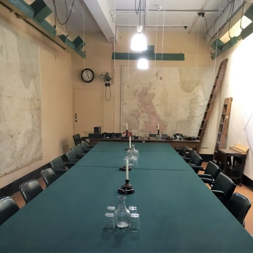 A meeting table in the Churchill War Rooms