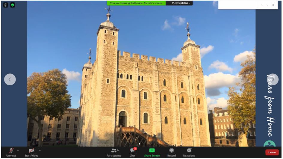 A screenshot of the Tower of London from the tour