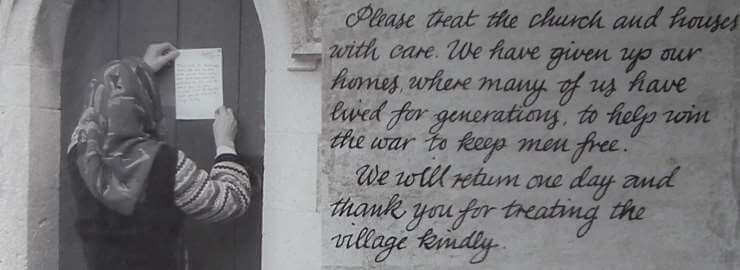 A old photo of Evelyn Bond pinning a letter to the door of the church, ad a close up of the words of the letter.