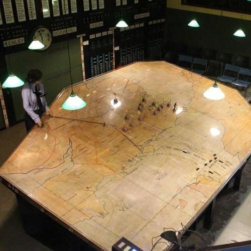 The plotting table in the Battle of Britain Bunker in Uxbridge