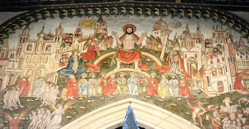 A close up of the central panel of Salisbury's Doom painting.