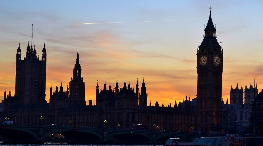 The Houses of Parliament on the River Thames in London