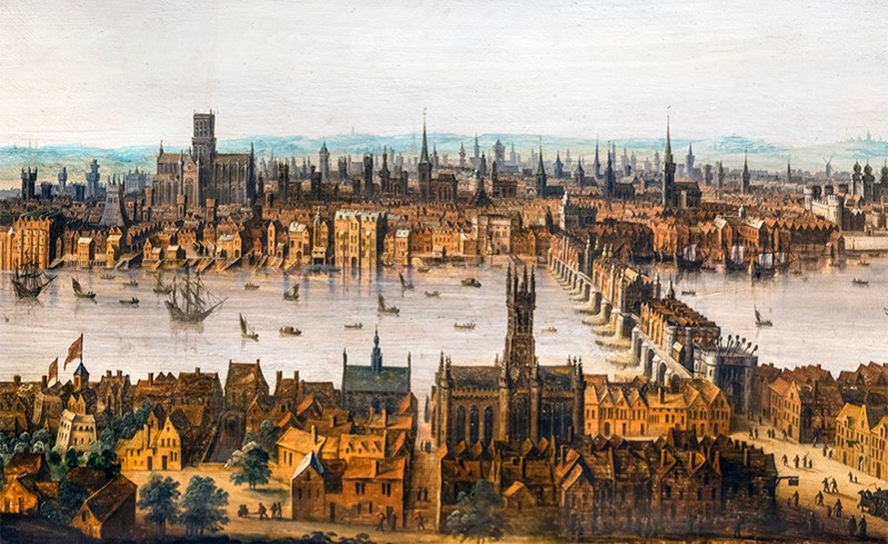 An old painting of Southwark and the Thmes