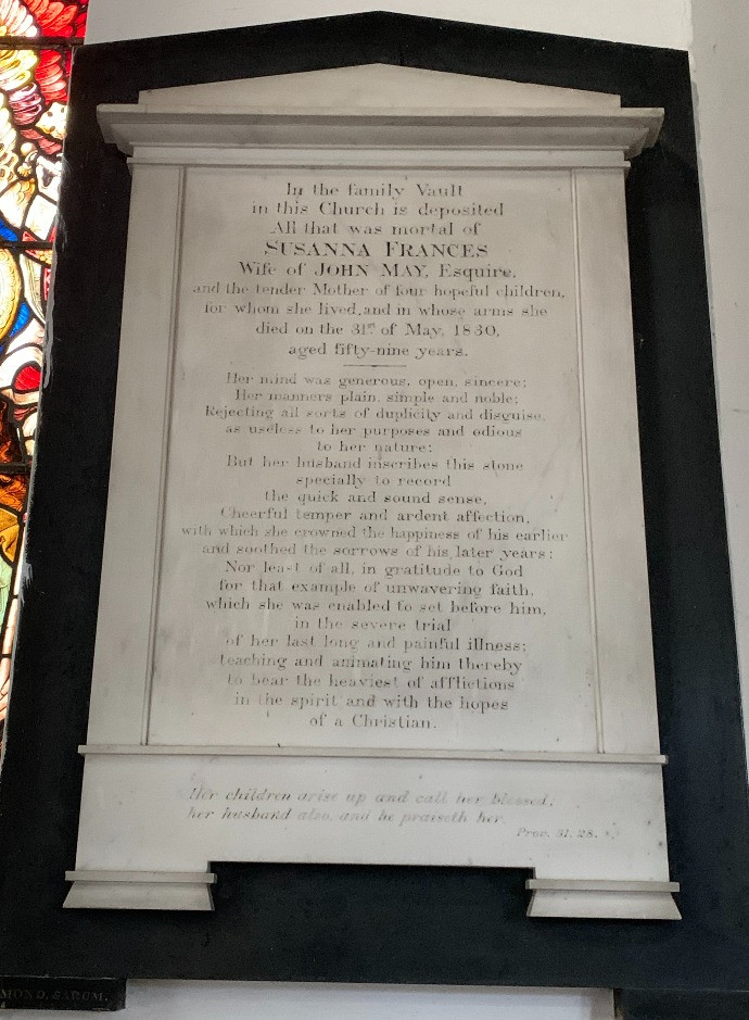 The memorial to Susanna Frances in St Mary Church Hale