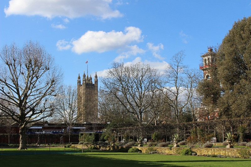 The gardens of Lambeth Palace in Winter.