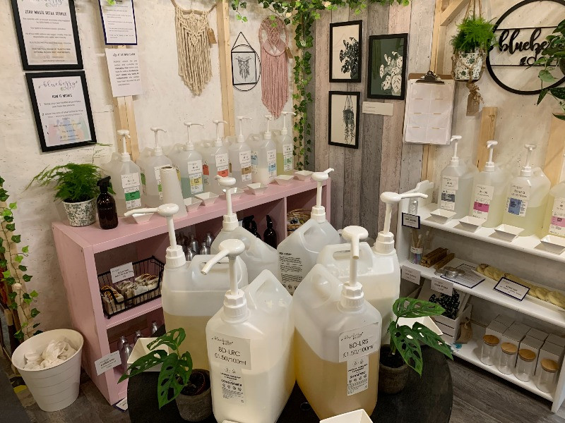 A display of refill bottles at the Blueberry Den stand i the Phoenix Emporium