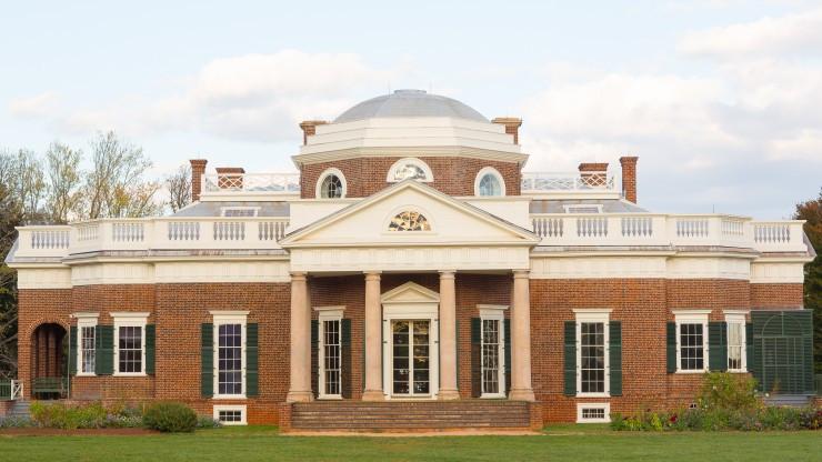 The exterior of Monticello where Thomas Jefferson lived.
