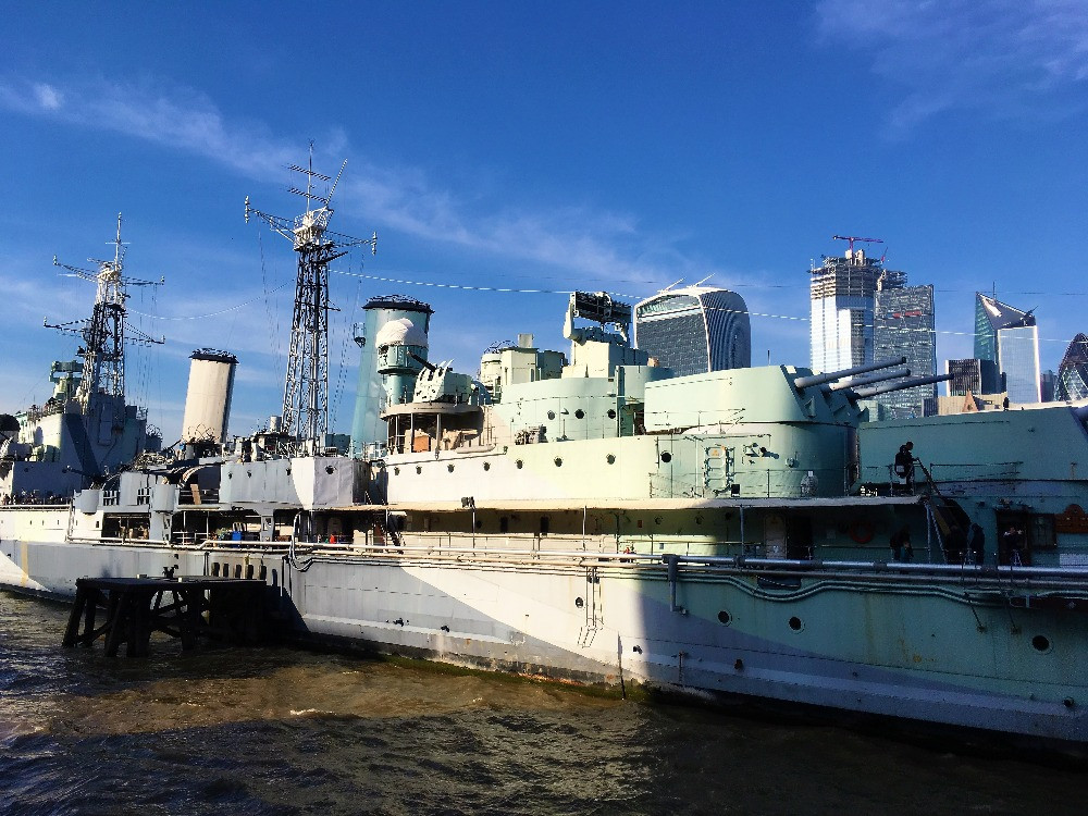 A close up of HMS Belfast in the middle of the Thames.