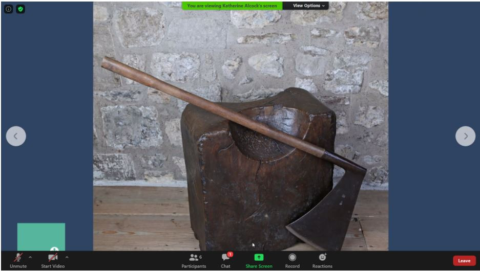 A screenshot of the chopping block from the virtual tour