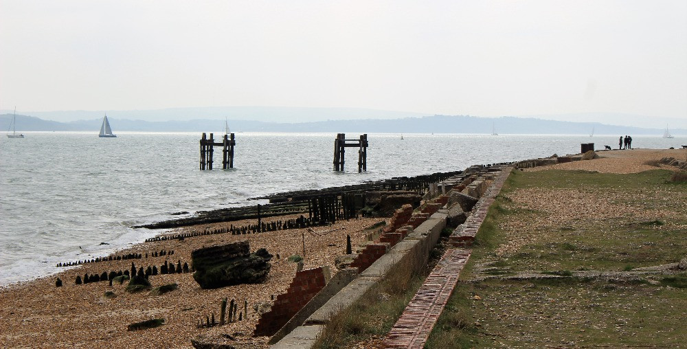 Lepe Beach with brick and metal ruins