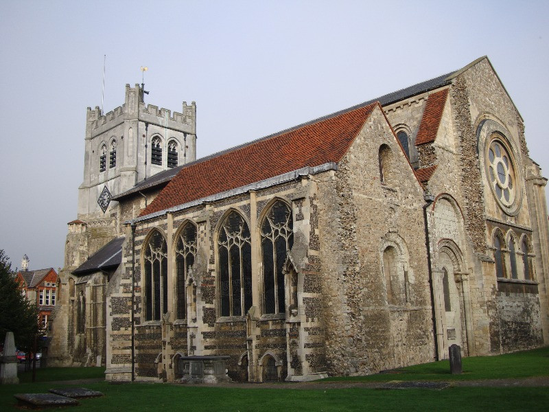 The outside of Waltham Abbey