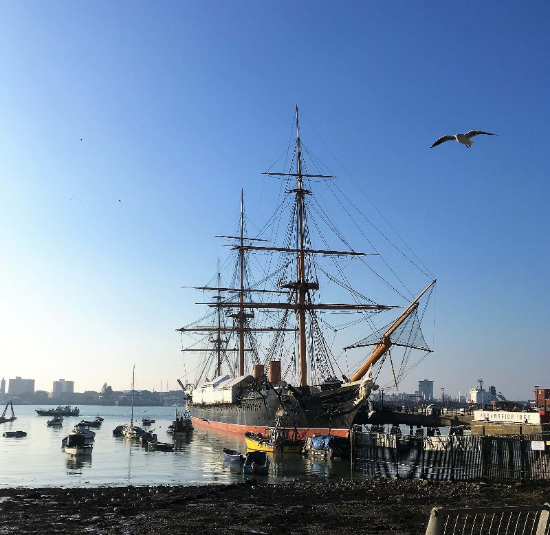 A tall ship in Portsmouth Harbour