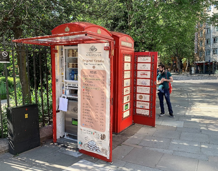 Walkmisu phone boxes in Russell Square