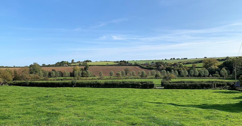 A view over the green hills of the Woodford Valley near Salisbury.