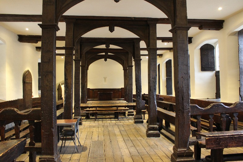 The wooden interior of a classroom at Eton.