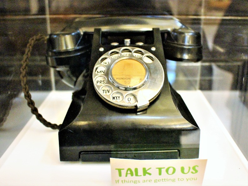 A close up of the black bakelite telephone used to start The Samaritans.