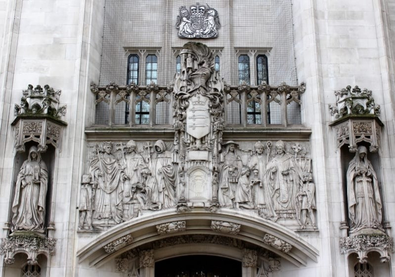 The frieze outside the Supreme Court
