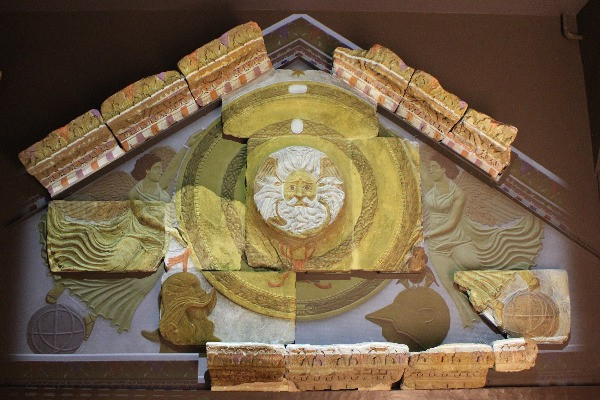 The illuminations on the pediment in the Roman baths museum.
