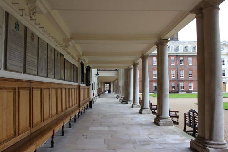 Along colonade in the grounds of the Royal Hospital