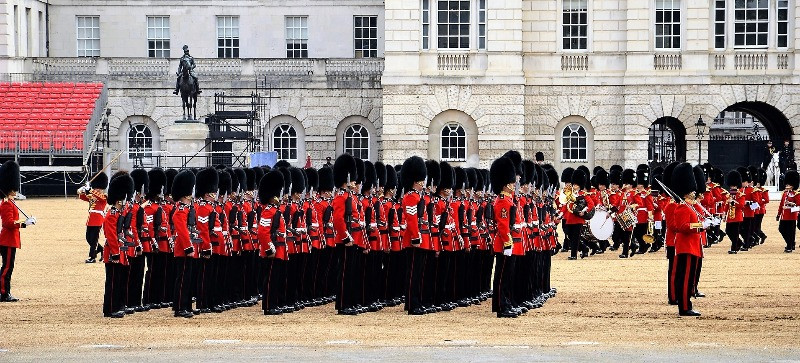 The Guards in full dress uniform in Whitehall