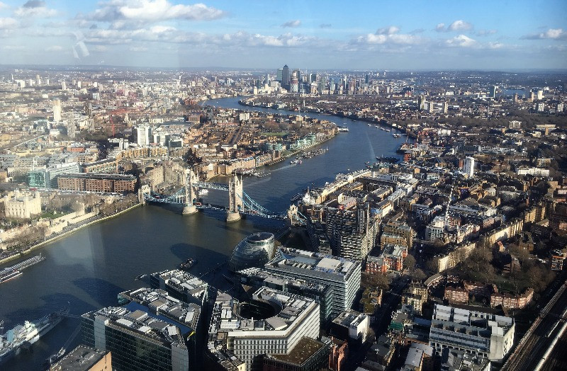 A view over the River Thames from the Shard