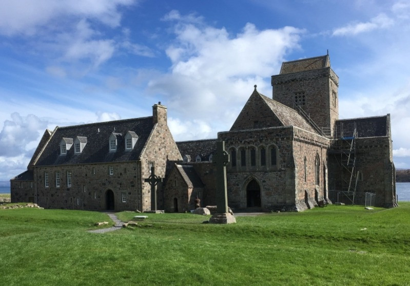 Iona Abbey against a blue sky