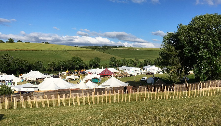 Looking down over the tents in the valley