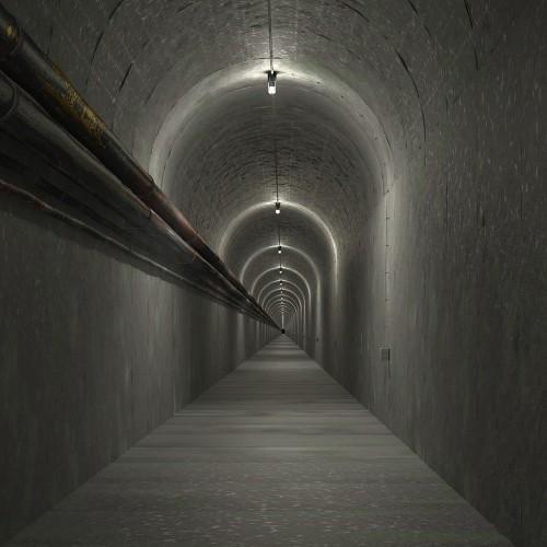 A dark underground tunnel.