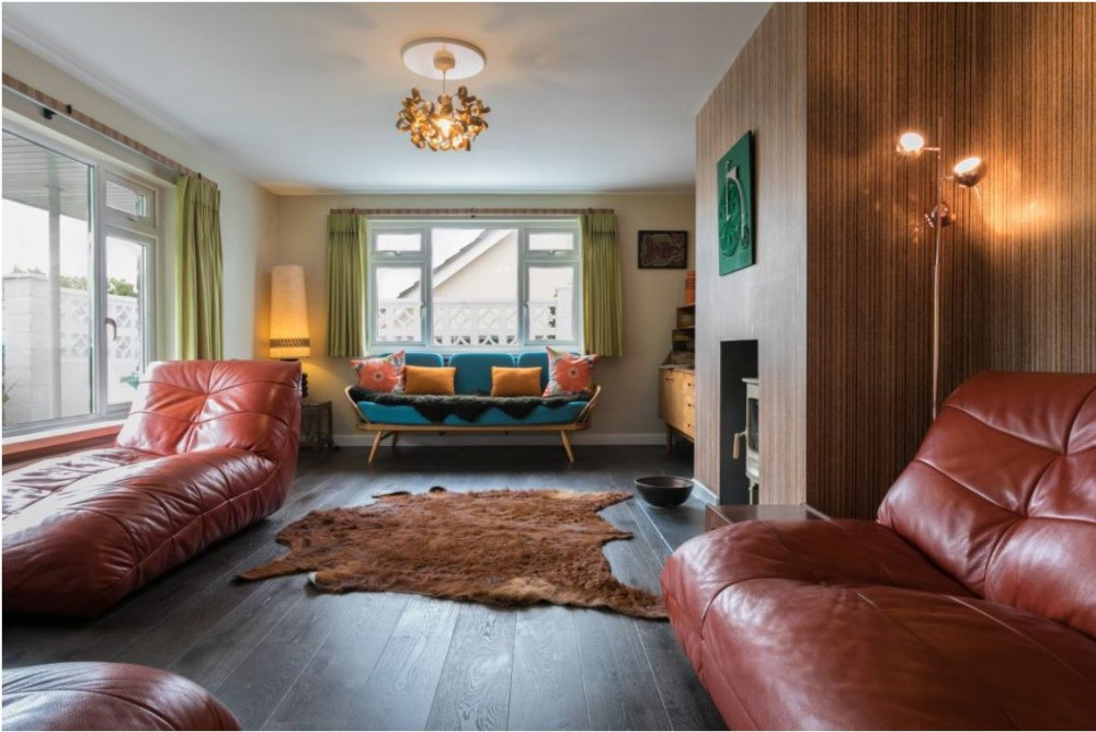 The sitting room at Dimm with stylish 1970s furnishingset